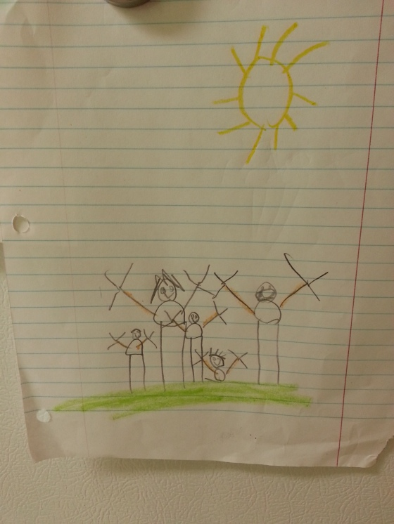 Our family, drawn by Maverick, age 5
