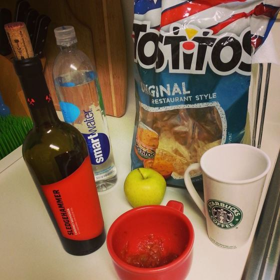 These are my food groups. (That's salsa in the red cup.)