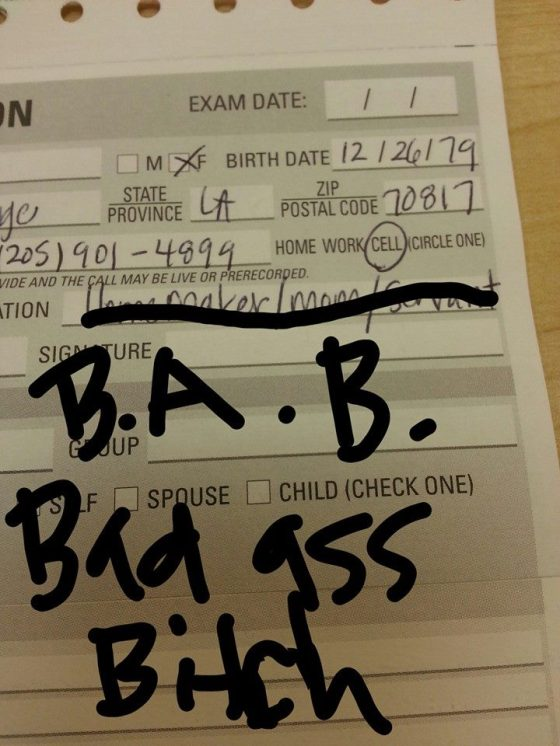 I had an eye exam this week. Occupation? B.A.B.