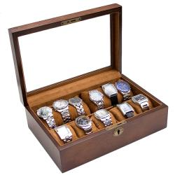 Vintage-Brown-Finish-Wood-Glass-Top-Watch-Case-w-High-Clearance-Holds-10-watches-P13973992